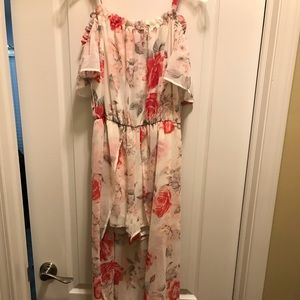 Floral maxi dress with romper
